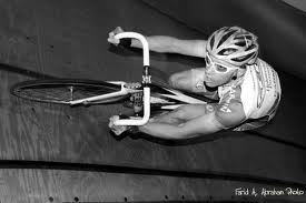 Cyclist competes on Velodrome Track